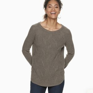 Sonoma Twisted Cable Knit Pullover Sweater Raglan